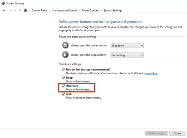 Add Hibernate To Start Menu In Windows 10