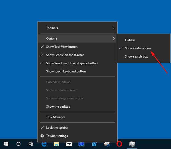 Show Cortana Icon On The Taskbar