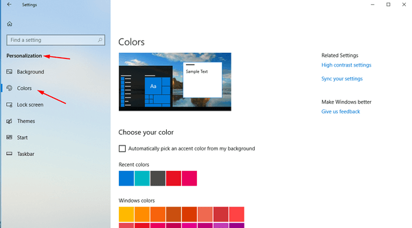 Windows 10 Personalization Color