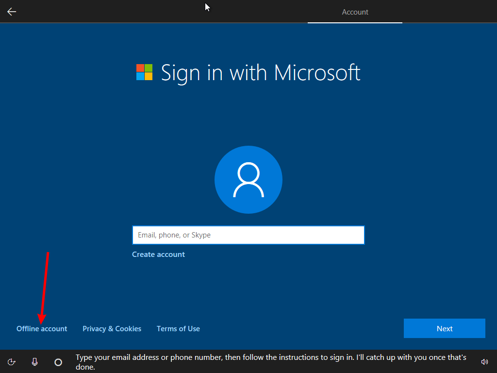 Install Windows 10 Without Microsoft Account