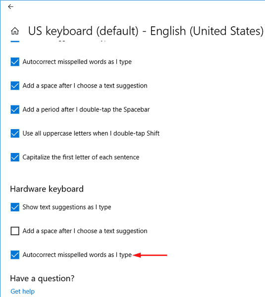 Enable Autocorrect Misspelled Words In Windows 10