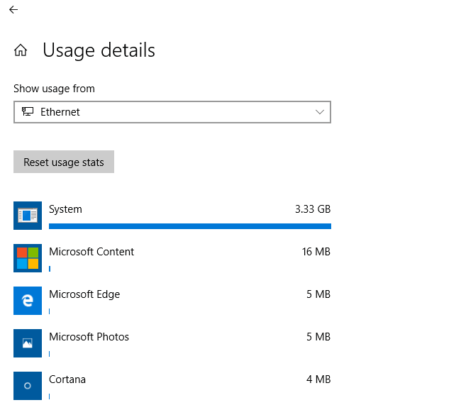 Check The Data Usage For Individual Networks In Windows 10