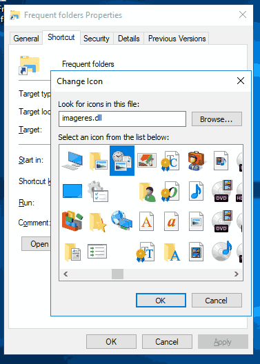 Change Frequent Folders Shortcut Icon