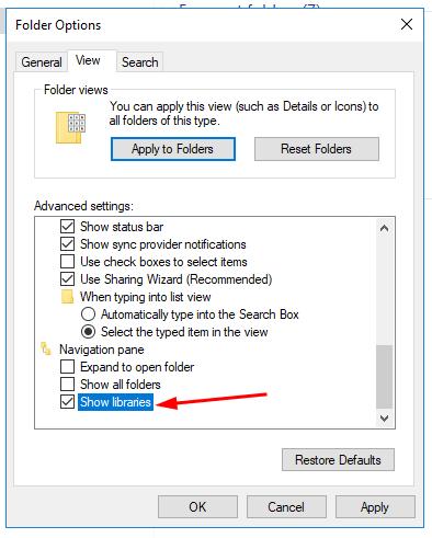 Enable Libraries In Windows 10 Figure 3