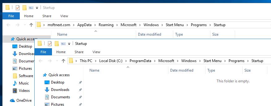 Windows 10 Startup Folders
