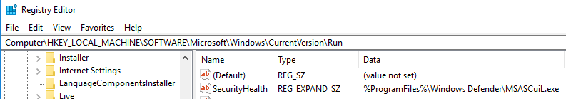 windows registry startup values