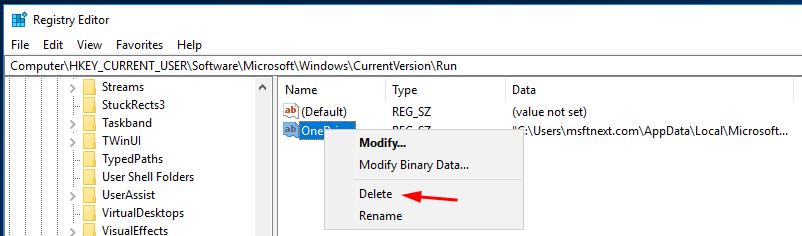Windows 10 Remove Startup App From Registry
