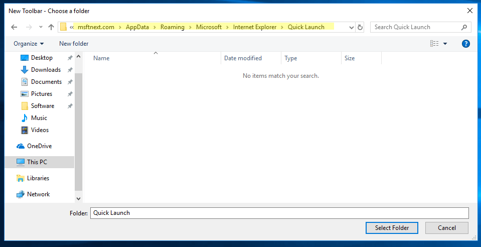 Windows 10 Enable Quick Launch Toolbar Step 2