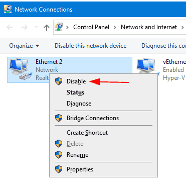 Windows 10 Disable Network Adapter