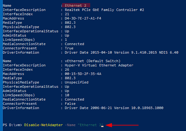 Windows 10 PowerShell Disable Network Adapter