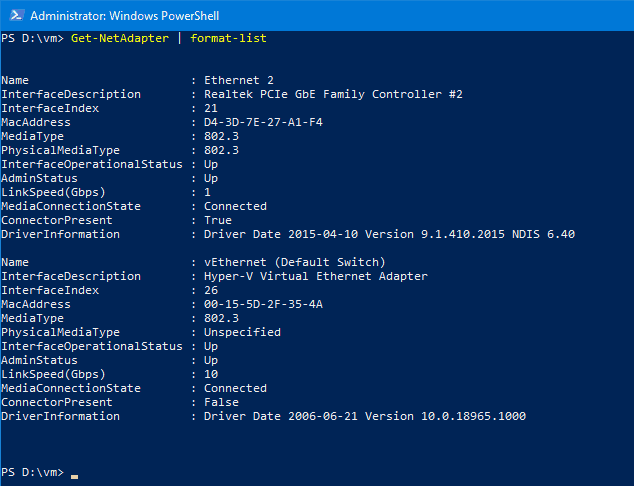 Windows 10 PowerShell List Network Adapters