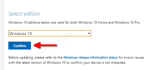 Windows 10 Download ISO File Step 2
