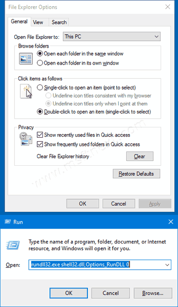 Windows 10 File Explorer Options Dialog Rundll32