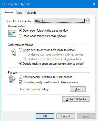 Windows 10 File Explorer Options Dialog