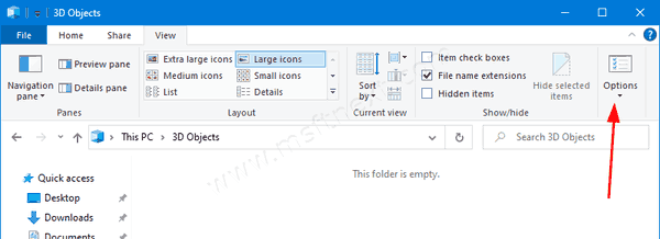 Windows 10 Folder Options Command In Ribbon