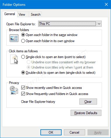 Windows 10 Folder Options Dialog