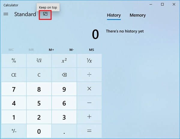 Keep Top Calculator Windows 10