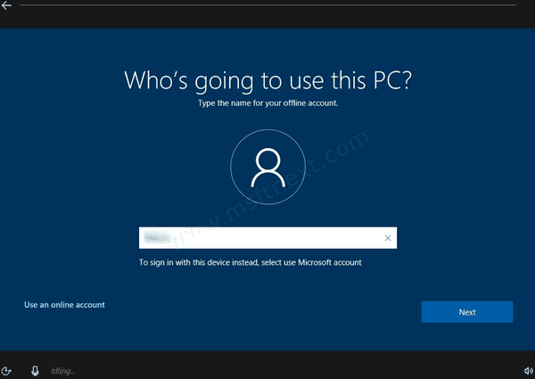 Install Windows 10 Version 1909 Without Microsoft Account