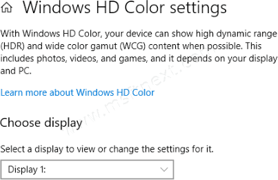 Turn On or Off HDR and WCG Color for Display in Windows 10