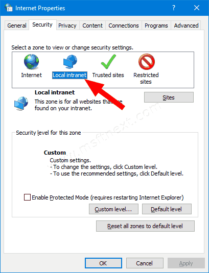 Windows 10 Internet Properties Security Tab Local Intranet Icon