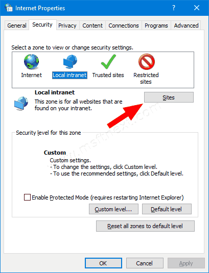 Windows 10 Internet Properties Security Tab Sites Button