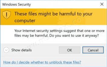 Disable These Files Might Be Harmful to Your Computer Message