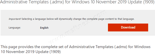 Download Administrative Templates for Windows 10 Version 1909
