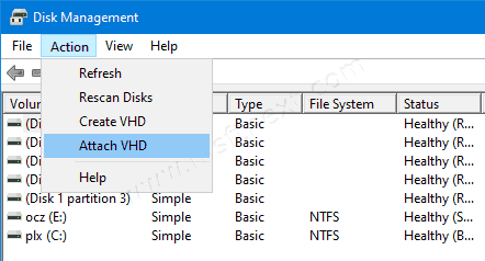 Create a New VHD or VHDX File in Windows 10