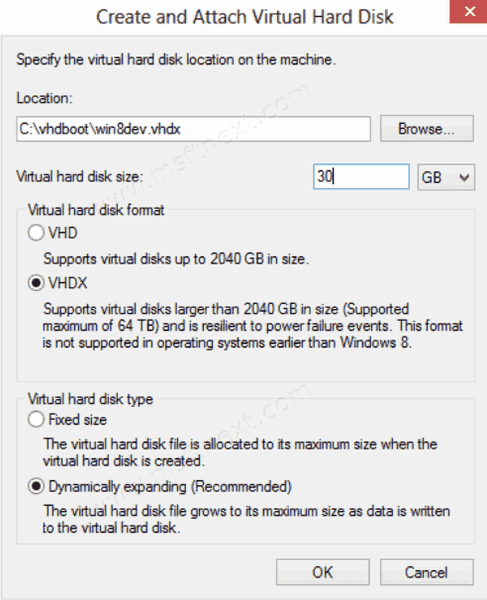 Disk Management Create VHD