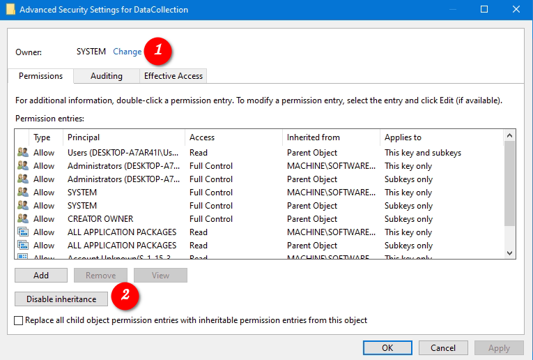 Windows 10 Disable Inheritance For Registry Key