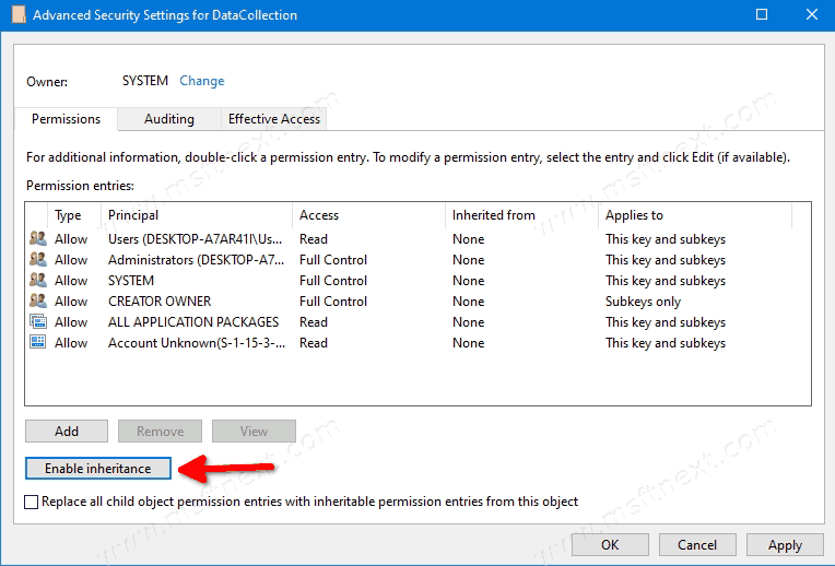 Windows 10 Reenable Inheritance Message For Registry Key