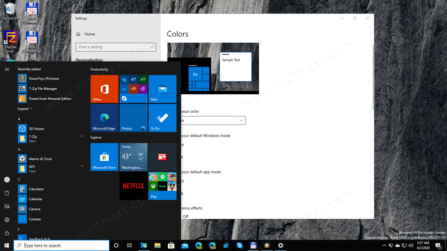 Windows 10 Transparency Effects Disabled