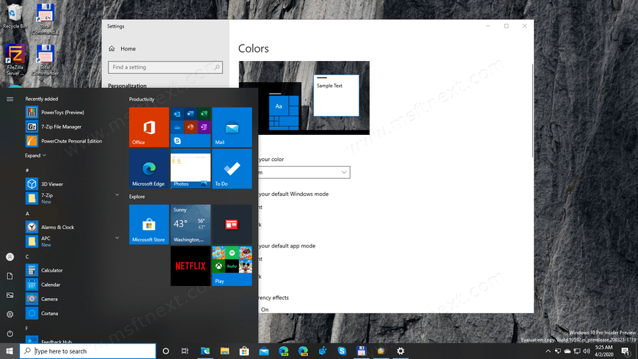 Windows 10 Transparency Effects Enabled