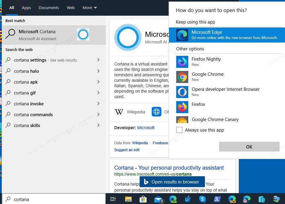 Windows 10 Version 2004 Cortana Removed