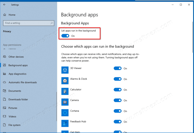 Windows 10 Disable Background Apps