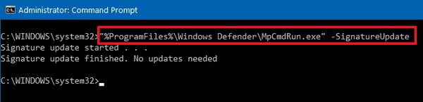 Microsoft Defender Update Definitions