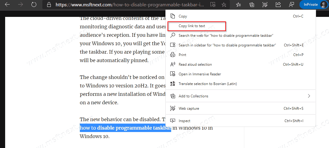 How to Create Link to Text Fragment in Microsoft Edge