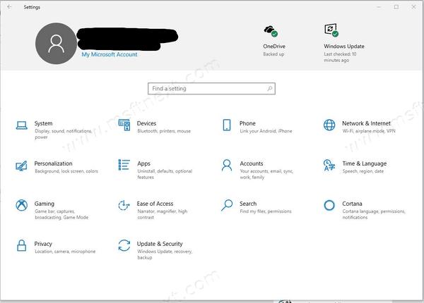 Windows 10 Settings with Header