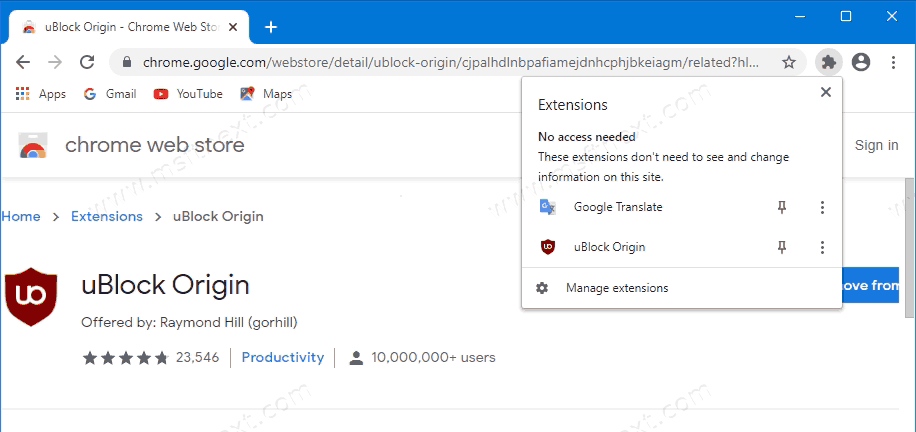 Disable Extensions Toolbar Button in Google Chrome