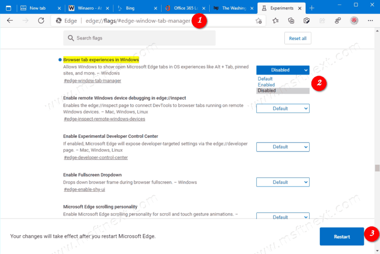 Disable Edge Browser Tab Experiences In Windows 10