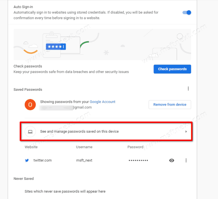See Chrome Password Stored On The Device Locally
