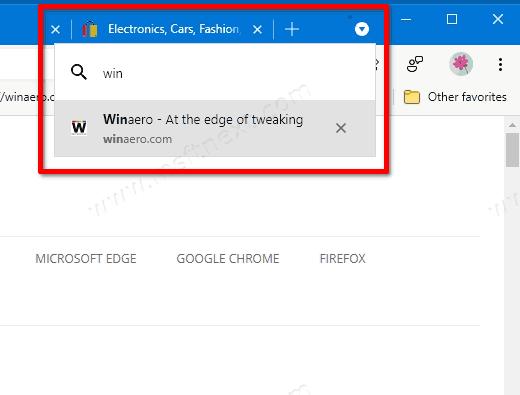 Tab Search Flyout In Microsoft Edge