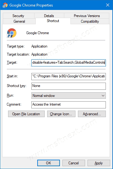Add Mutiple Disable-Features To Chrome Shortcut