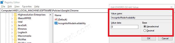 Disable Incognito Window Chrome