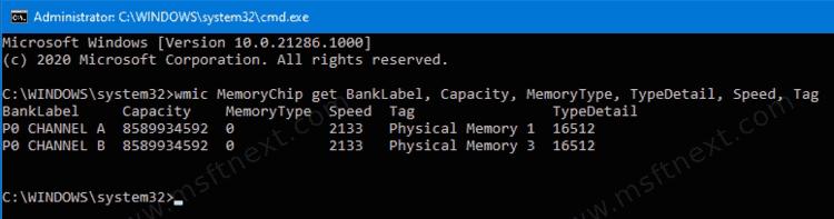 Memory Type WMIC