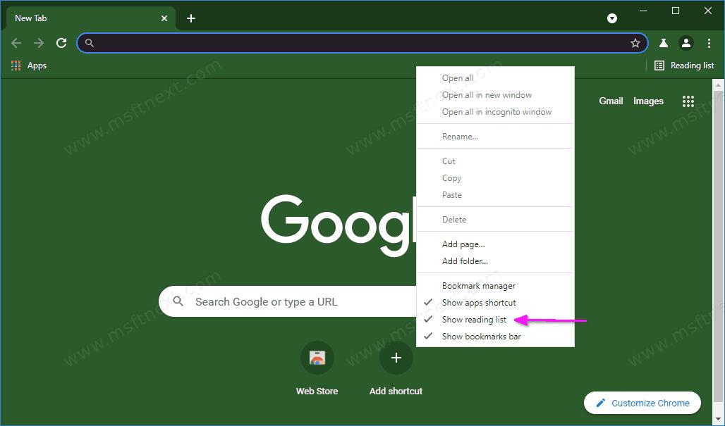 Chrome Add Remove Reading List Button