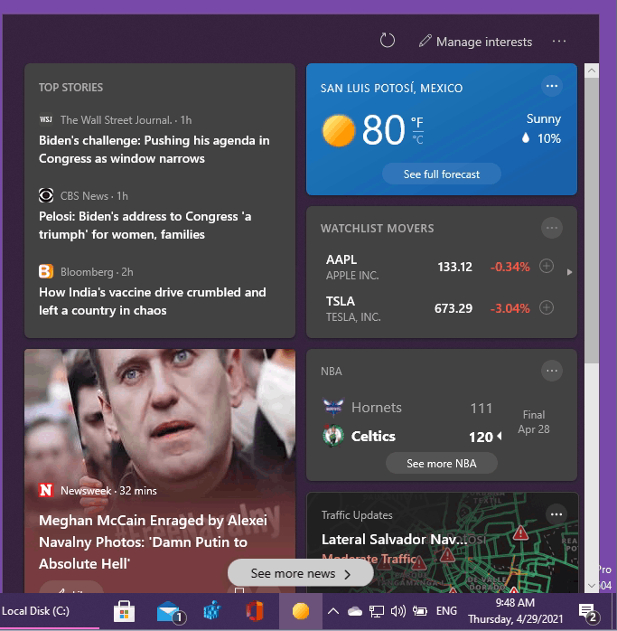 Make News and Interests Widget Links Open in Chrome or Other Browser