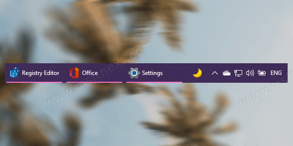 Enable text labels for running apps in Windows 10 taskbar