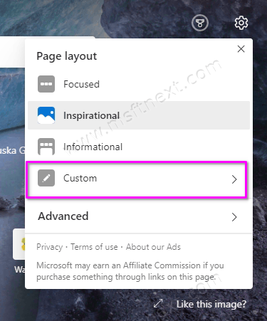Edge New Tab Page Custom Settings