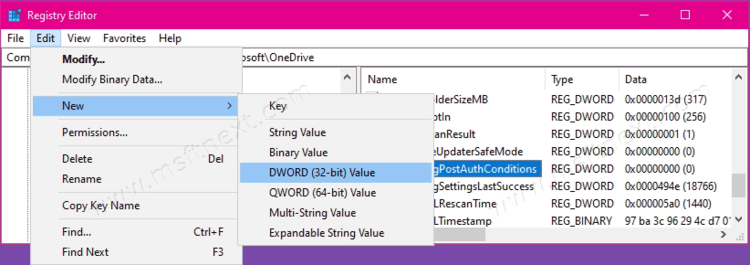 OneDrive Key New 32 Bit Dword